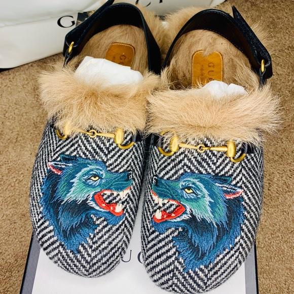 Rare Gucci Fur Herringbone Slippers